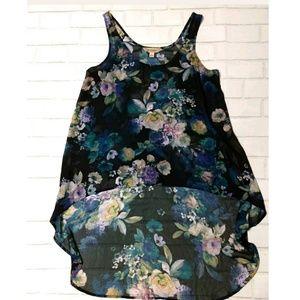 Decree Womens Floral Sheer Top High Low Hem line